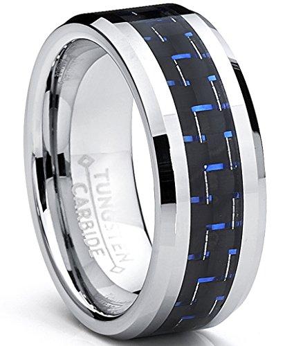 Ultimate Metals 8MM anello di fidanzamento in tungsteno da uomo - fede nuziale in tungsteno con Fibra di Carbonio Nero e Blu