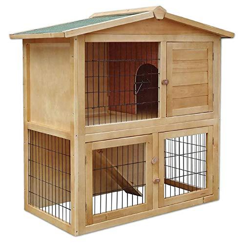 Dibea RH10011, Stalla in legno per piccolo animali, 2piani gabbia, 3porte, 98 x 54 x 100 cm