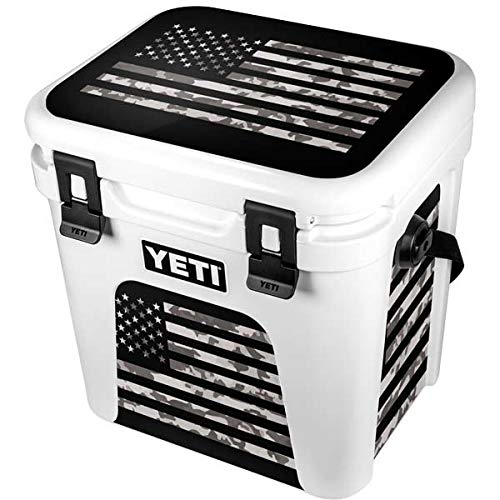 Skinit Decal Skin Compatible with YETI Roadie 24 Hard Cooler - Originally Designed Black and White Camo American Flag Design