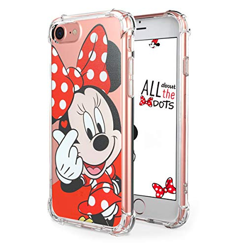 """Logee TPU Minnie Mouse Cute Cartoon Clear Case for iPhone 8/iPhone 7 4.7"""",Fun Kawaii Animal Soft Protective Cover,Ultra-Thin Shockproof Funny Creative Character Cases for Kids Teens Girls(iPhone7/8)"""