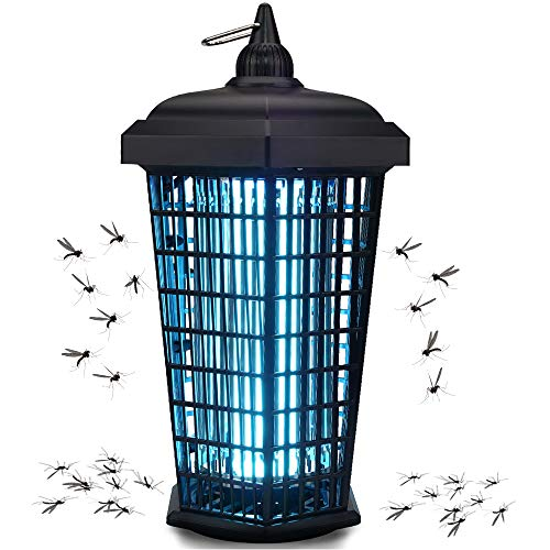 Bug Zapper Outdoor Mosquito Trap Fly Killer, 4200v Electric Insect Lamp Catcher for Flies Waterproof - Dusk to Dawn Sensor Electronic Light Bulb for Garden, Backyard, Patio Large, Home,1 Acre, Plug in