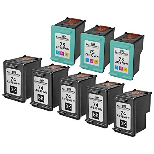 Speedy Inks - 8PK Remanufactured Replacement for HP 74 CB335WN & HP 75 CB337WN Ink Cartridge Set: 5 Black & 3 Color
