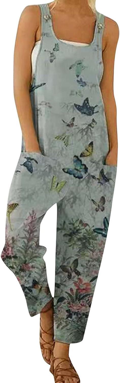 Misaky Women's Casual Loose Long Bib Pants Retro Butterfly Print Pocket Sleeveless Strap Jumpsuit