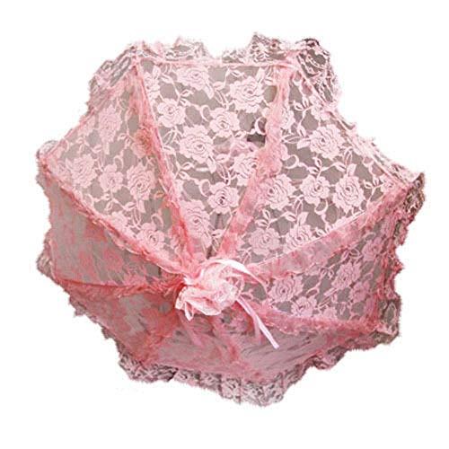 Black Sugar - Ombrello rosa in pizzo trasparente e nastri, ideale per cerimonie, matrimoni, gotico, Lolita