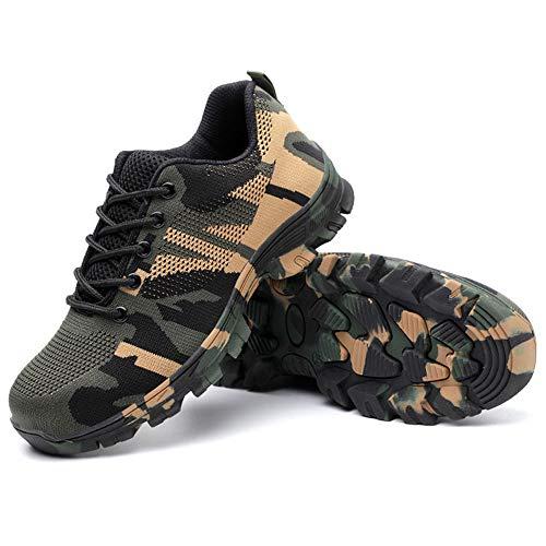 Calzado Seguridad Hombre Mujer Ligero Camuflaje Protectoras Zapatos Trabajo con Punta de Acero Zapatillas de Seguridad