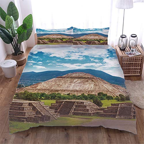 AOUAURO Super king Duvet Cover Set pyramid 3D Printed Quilt Cover Bedding Set with Zipper Closure in 100% Polyester for Children Kids Teens Adults 1 Quilt Cover 2 Pillowcases 260x220cm 3PCS