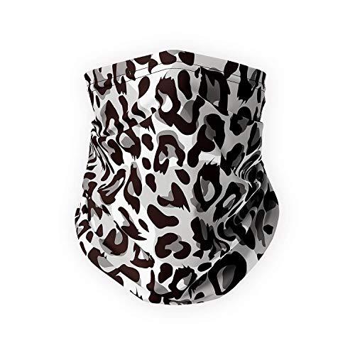 SPADKEN Neck Gaiter Face Mask Cover - Reusable Bandana Scarf Balaclava for Men Women - UPF 50+ (Animal Print Black)