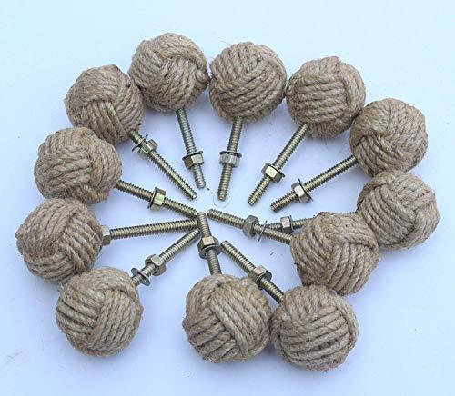 antiquegifts2019 - 12 pomos de puerta con diseño de nudo, tiradores náuticos de cuerda de yute para cajones