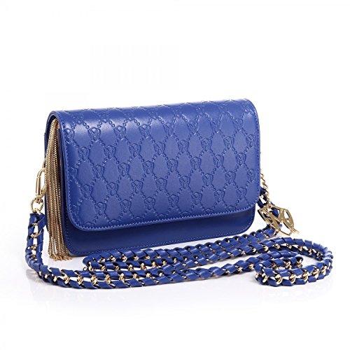 Jasmin Handtasche mit Prägung, Schwarz oder Königsblau, Blau (königsblau), Einheitsgröße
