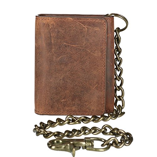 CTM Men's Crazy Horse Leather RFID Trifold Chain Wallet, Brown