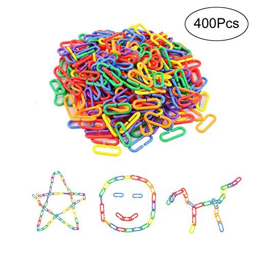 Amatt ganci in plastica per catena, confezione da 400C-links bambini Learning Toy Rat Parrot uccello giocattolo gabbia
