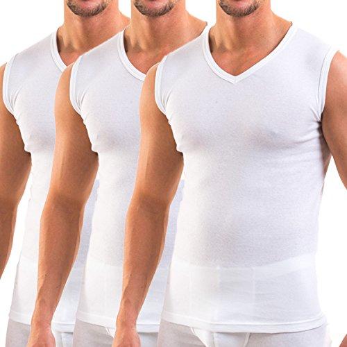 HERMKO 3050 3er Pack Herren Muskelshirt V-Ausschnitt (Weitere Farben) aus 100% Bio-Baumwolle, Größe:D 9 = EU 3XL, Farbe:weiß