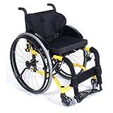Sillas de ruedas deportivas recreativas, silla de ruedas manual plegable ligera y útil para discapacitados, cubo de aleación de aluminio Rueda deportiva de alambre de acero de 12 radios,Amarillo