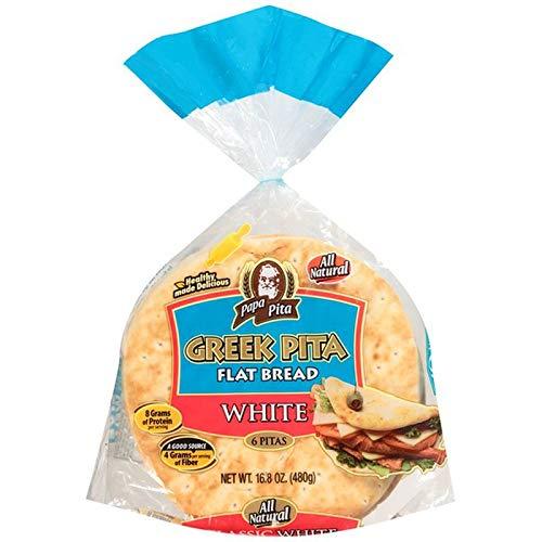 Greek Pita Flat Bread White, 6 ct (each bag) NON GMO Vegan Friendly 2 Bags