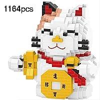 Zenghh 工芸コレクション、ルームオフィスの装飾に適した子供のためにダイヤモンドマイクロ・ビルディング・ブロックの日本人マスコットプルートス猫二次元の人形のモデル教育玩具フィギュア、 (Color : A)