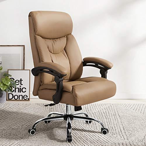 Esszimmerstuhl Reclining Boss Stuhl, Geschäftsleben Drehstuhl Chefsessel, Home Computer Stuhl, Bürostuhl Aus Leder Mit Komfortablen Rückenlehne (Color : PU-Brown)