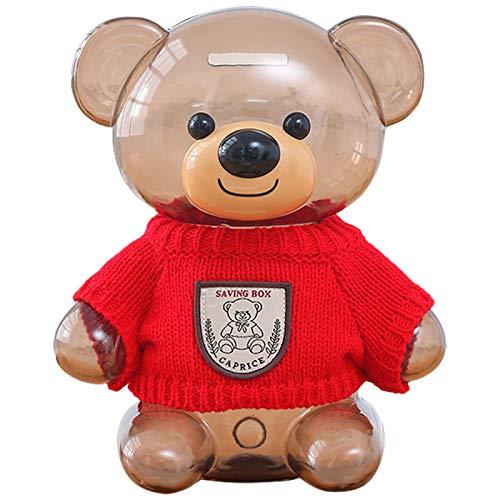 ONXE Spardose für Kinder, Bär, transparent, Kunststoff, großes Fassungsvermögen, mit Öffnung, Spardose, Geschenk für Kinder, transparente Münzbox (rot)