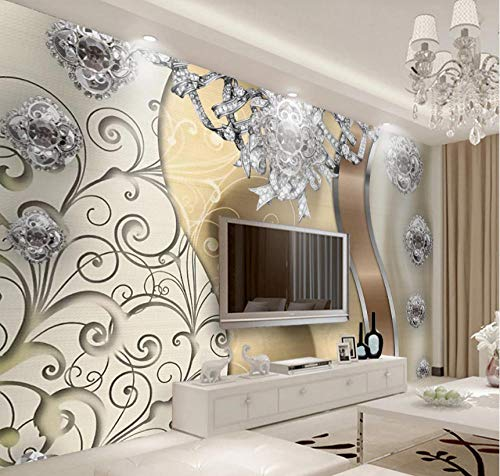 Photo Wallpaper European Style Golden Lace Jewelry Flower Tv Background Wall Large Wall Mural Series Wallpaper for Living Room Wall Art Wall Decor Home Decor-196.8X118.1Inch