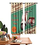 Insulated solid grommet top Heat Insulation Curtain Scooter Motorbike Summer Travel Italian City Sight Hipster Enjoy Ride Illustration Room Darkening Noise Reducing Set of 2 Panels W72'x L62'