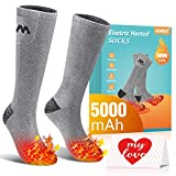 Jomst 5000mAh Heated Socks for Men Women up to 8-25 Hours of Heating 3 Heating Settings Rechargeable Electric Heated Socks Winter Warm Socks for Skiing Camping Running Fishing (Gray)