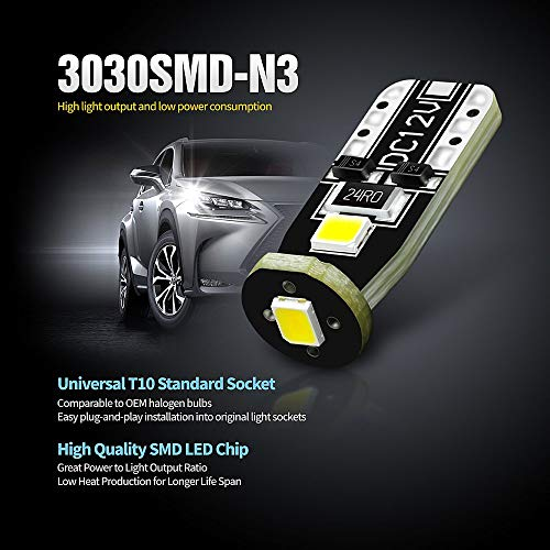 SIRIUSLED 194 LED Bulbs Extremely Super Bright 3030 Chipset for Car truck Interior Dome Map Door Courtesy Marker License Plate Lights Compact Wedge T10 168 2825 Xenon White Pack of 10
