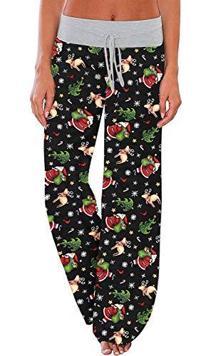 AMiERY Women's Christmas Pajamas Pants Sleep High Waisted Xmas Pajama Bottoms Pjs Pants Lounge Palazzo Pants S