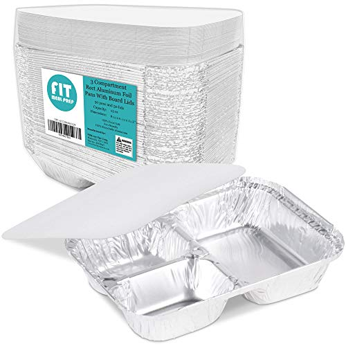 """[50 Pack] 3 Compartment 8.5 x 6.5 x 1.5"""" Rectangular Disposable Aluminum Foil Pan Take Out Food Containers with Flat Board Lids, Hot Cold Freezer Oven Safe"""