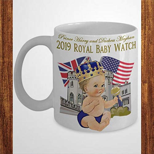 Coffee Mug, Prince Harry And Meghan Royal Baby Watch Commemorative Coffee Mug Gift Meghan Markle USA And Britain Together Baby Of The Year Funny Ceramic Coffee Tea Cup Gift for Friend Family Lover Col