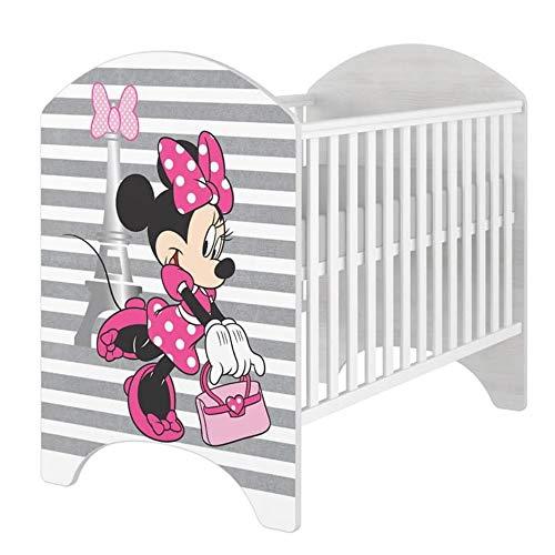 iGLOBAL Cuna de bebé, juego completo con 2 barrotes, colchón ajustable en 3 alturas, espuma y fibras de coco, 120 x 60 cm (Minnie Paris P)