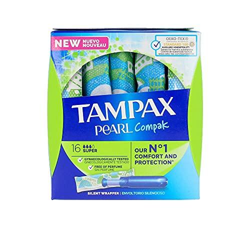 Tampax Compak Pearl Super Con Aplicador, Tampón Comodo, Protección Y Discreción, 16 Unidades