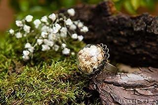 Anello di vetro e petali di Gypsophila - gioielli fatti a mano fiori naturali secchi - 20mm - regalo donna - regali per le...