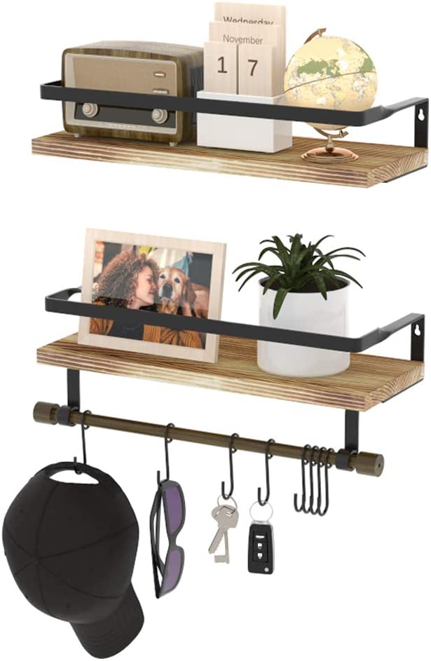 Wall Shelves with Hooks HuTools Set Ranking TOP3 Shelf Product for of Floating Bat 2