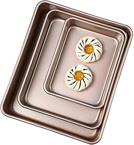 """FLH Baking Sheet Set of three,Baking Trays For Oven- 9"""" 11"""" 13"""" Stainless Steel Bakeware Set For Cooking Cakes and Roasts"""