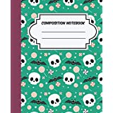 Skulls and bats Composition Notebook: Halloween Wide Ruled, Gifts for Kids and Adults, pattern of Skulls and bats