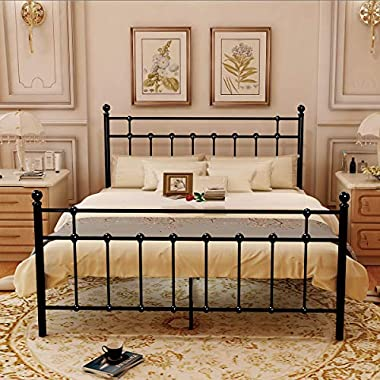 HOMERECOMMEND Metal Bed Platform Frame Box Spring Replacement Foundation with Headboards & Hevay Duty Steel Slats, Queen