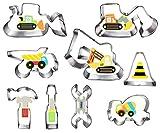 Konstruktion Ausstecher keksausstecher Set-9-teilig-Bagger Digger Traktor Bulldozer Muldenkipper Hammerschlüssel Bauwerkzeuge Schneider Ausstechform Backform für Kinder Digger traktor Truck party