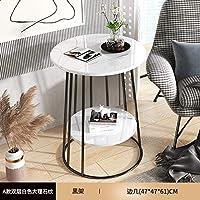 TIN-YAEN サイドテーブル スモールコーヒーテーブルシンプルなモダンな創造的なノルディックライト高級コーヒーテーブルベッドルームベッドサイドテーブルミニソファサイドテーブルSM (Color : Marble 47x47x61cm)