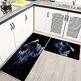 Alfombras Cocina Lavable Antideslizante Retrato de Hombre Hombre Varonil Perfil de la Cabeza de Lado Mirando Pensamientos, Alfombrilla de Goma Alfombra de Baño