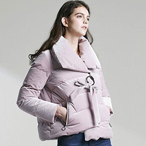 Inconnu HF Hiver Épaissi Velours vers Le Bas Veste Dame Courte Section Haute Col Profil Étudiants Pain Costume Veste Décontractée,Rose,S