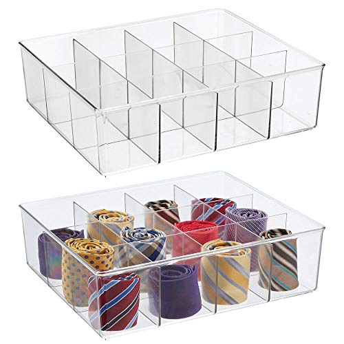 mDesign Plastic 12 Compartment Divided Drawer and Closet Storage Bin - Organizer for Scarves Socks Ties Bras and Underwear - Dress Drawer Organizer Shelf Organization - 2 Pack - Clear