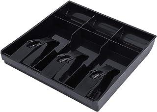 Caja de Efectivo Caja Registradora Cajón Registro Insertar Bandeja de Reemplazo 3 Billetes 3 Monedas para Petty Cash Caja de Almacenamiento de Dinero (Black)