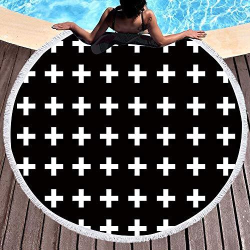 Toalla de playa QCWN con diseño de mapa del mundo, toalla de playa 3D con mapa de playa, manta para adolescentes, playa, redonda, borla, supersuave, absorbente, multiusos, 150 cm de ancho