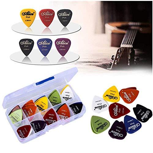 50pcs Gitarren Plektrum1 Kastenkasten elektrische Gitarrenzusätze Gitarren plektren musikalische Instrumentstärke 0.58-1.5 Neuer Entwurf