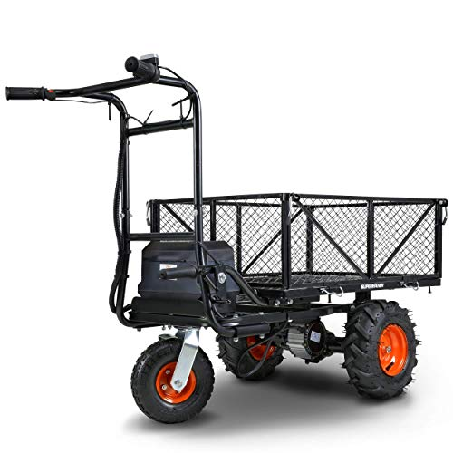 SuperHandy Utility Service Cart Power Wagon Wheelbarrow Electric 48V DC Li-Ion Powered 500Lbs Load and 1000Lbs+ Hauling Capacity Farm and Garden All Purpose Modular Cargo Bed