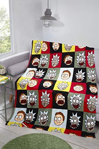 Coco Moon Rick and Morty Fleece-Decke, Überwurf, ideal für Teenager oder Erwachsene, Schlafzimmer-Accessoire, Geschenk