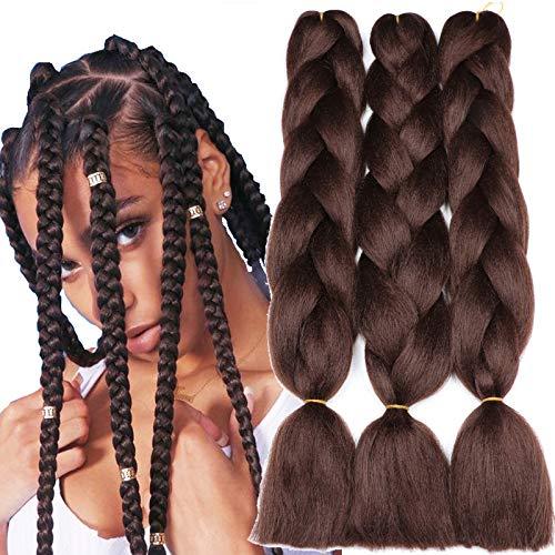 Original Jumbo Braids Hair Extension 3pcs Pure 4# Color dark brown 24inch 100g/pc For Twist Box Braiding Hair (4#)