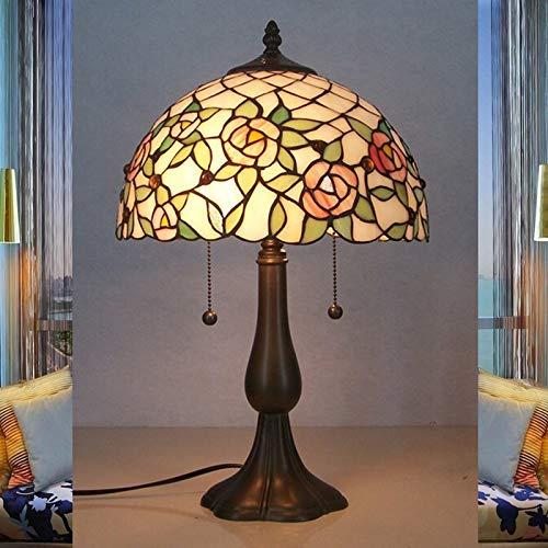 Tiffany TischlampeLandhausStil E27 Fassung Schreibtischlampemit SchirmWohnzimmerIdylle Handgefertigtes Rosen-Blume Bunt Glas Tischleuchte mit MusterSchlafzimmer Leselampe Kinderzimmer Dekoration