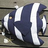 LOVIVER Maritime Stil Fisch Dekokissen Kopfkissen Sofakissen Kissen 48x40 cm - Blau