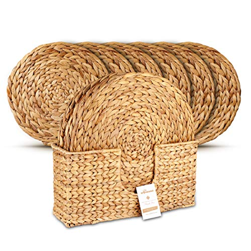 Wovanna Woven Placemats for Dining Table Set of 6 Adorable Thick Rustic Round Kitchen Placemats with Decorative Tall Holder All Natural Wicker Tablemats Hand-Braided from Water Hyacinth 15