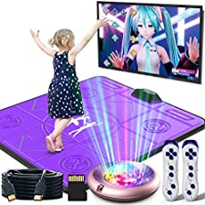 BLAVOR Dance Mat TV Somatosensory Game Electronic Revolution Playmat Portable Musical Blanket Pad Baby Touch Safety Early Education Toy 100+ Family Games for Adult Kid Boy Girl, English MTV&Cartoon
